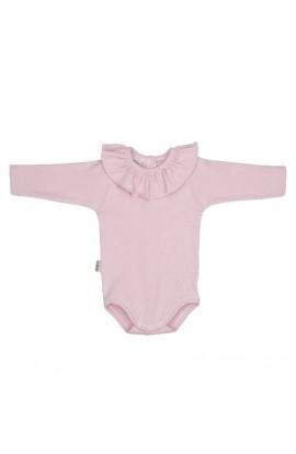 Body bebe rosa tiza con cuello volante