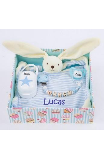 Regalos Bebe Con Nombre.Cajita De Regalo Azul Para El Bebe Con Su Nombre En Los Articulos