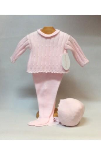 19cbaf7c8 Conjunto de niña de invierno de punto en color rosa CON CAPOTA