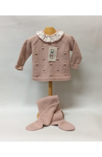 cf1cbe020 Conjunto de invierno de niña con polaina y sueter en rosa palo
