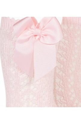 Calcetin alto calado rosa